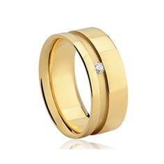 Aliança Noiva Amarelo e Diamante Valentine's
