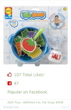 Top christmas gift on Facebook.  Top christmas gift on undefined 107 people likes on Internet. 47 facebook likes. 60 thumbs-up on .undefined alex toys amazon christmas gift. alex toys bathtime fun tub soup 801w from amazon christmas gifts. http://www.MostLikedGifts.com/top-popular-christmas-gifts/amazom-christmas-gift-B0035A4DF0-alex-toys-bathtime-fun-tub-soup-801w