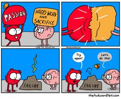 40 Heart and Brain cartoons from The Awkward Yeti — Unreal Side of entertainment Heart Vs Mind, Heart Art, Heart And Brain Comic, The Awkward Yeti, Science Quotes, Funny Science, Funny Memes, Hilarious, Calvin And Hobbes
