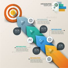 Modern Infographic Target Marketing Concept by Andrew_Kras Business target marketing concept. Target with arrows and line icons for 4 steps. Can be used for workflow layout, banner, diagram Presentation Design, Presentation Templates, Paper Presentation, Infographic Templates, Circle Infographic, Process Infographic, Infographics Design, Marketing Strategy Template, Web Design
