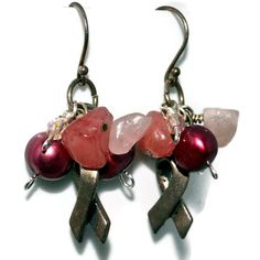 Breast Cancer Awareness Earrings Clusters of by SoManyPrettyBeads, $22.00