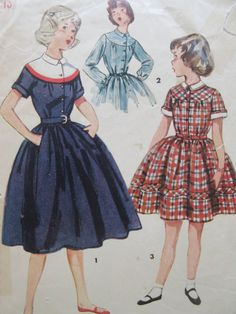 Vintage Simplicity 4412 Sewing Pattern, Girl's Dress Pattern, 1950s Dress Pattern, Chest 28, 1950s Sewing Pattern, Full Skirted Dress by sewbettyanddot on Etsy