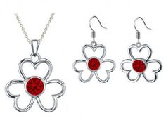 Rhodium Plated Garnet Color Red Flower Pendant Necklaces & Earrings Set with Chain made with Swarovski Crystals. #Glimmering #RhodiumPlatedPendant #RhodiumPlatedNecklaces #SwarovskiPendant #SwarovskiNecklaces #FashionNecklaces #FreeShipping #CheapFashionNecklaces #FashionPendant #NecklacesforWomen