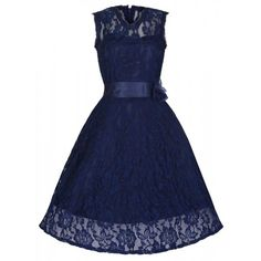 'Sally May' Midnight Blue Lace Swing Dress