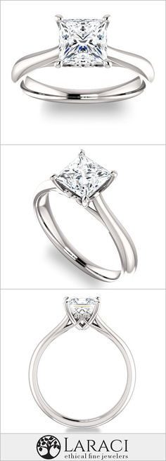 14K White Gold Solitaire Engagement Ring set with a 0.9ct (5.5mm) Princess Forever Brilliant Moissanite