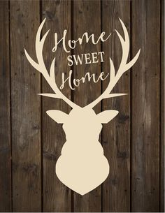 Home Sweet Home with Deer Head Silhoutte Wood Sign Canvas Wall Art  - Wedding, Father's Day, Shower Gift, Anniversary