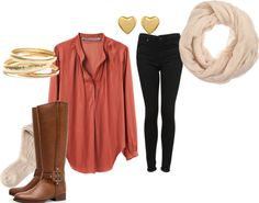 """classic fall oufit with this upcoming season's """"it"""" color: rustic blush  -pair a flowy light blouse with skinny jeans and riding boots  -for accessories: add a neutral scarf, bangles, stud earrings and a cute gold headband  -keep it young and cool with a leather bomber, makes it classic with a touch of edge!"""