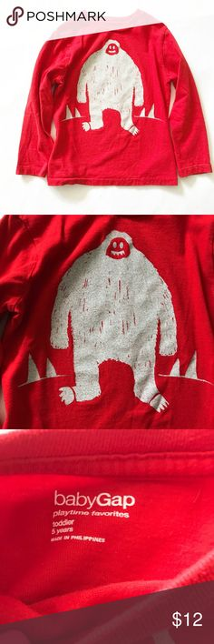 BABY GAP [boys] Red abominable snowman Shirt Gently worn once. From Baby gap. 5T. GAP Shirts & Tops Tees - Long Sleeve