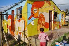 Mural for children's space by See Saw Do, Cape Town. Cape Town South Africa, Event Company, Seesaw, Play To Learn, Kid Spaces, Public Art, Vulnerability, Murals, Street Art