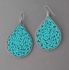 Silver Turquoise Beaded Teardrop Earrings - sale