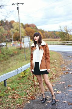 White top + black shirt + shearling coat, by Natalie Off Duty