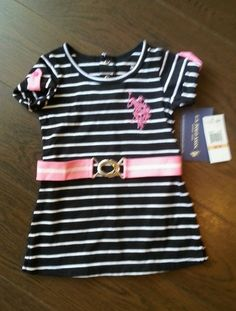 Us Polo Assn Black White Pink Striped Dress Toddler Baby Girls 12 M ~NWT $4 Free Shipping