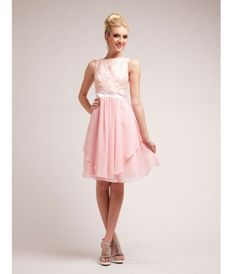 <BR><BR>This elegant gown features a lace bodice and knee-length, tiered chiffon skirt....Price - $88.00-IsLohZvK