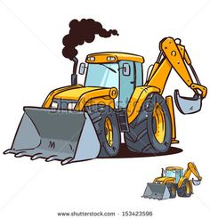 Great illustration of a cartoon guy operating an excavator ...