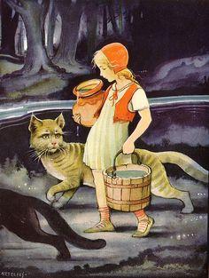 Hinter den blauen Bergen / Bild 19    Hinter den blauen Bergen  Märchen von Ebba Langenskiörld  A. Anton & Co. Verlag  Verlags-Nr. 914  (Leipzig/Deutschland; 1932)  Zeichnung: H. Artelius