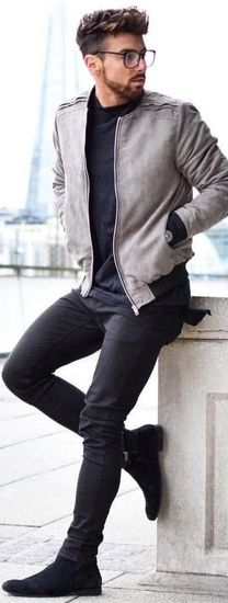 Summer look for men. Casual bomber jacket with black jeans and suede chelseas  #ShopStyle #MyShopStyle #ootd #getthelook