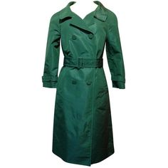 Pre-owned Prada Silk Trench Coat (24.830 RUB) ❤ liked on Polyvore featuring outerwear, coats, green, green coat, green trench coats, lined trench coat, prada coat and prada