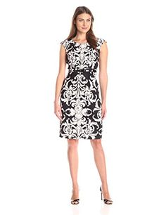 Connected Apparel Womens Twill Scroll Print Cap Sleeve with Belt BlackBlush 16 -- Visit the image link more details.