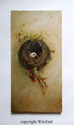Woodland Nest painting original bird nest wildlife by 4WitsEnd