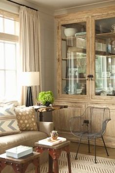 beautiful neutrals...love the oak/whitewashed cabinet and the horizontal planks on the wall