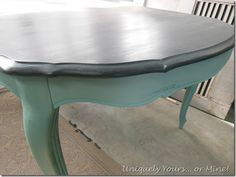 Coloring for a table or maybe black and white table with bright aqua chairs?