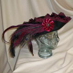 Black Pirate Hat Fancy Black Wool Tricorn by RoyalHouseOfWhimsy