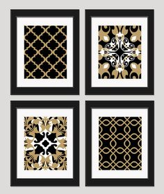 Black White Gold Art Black Gold Wall Art Set of 4  by inkandnectar, $45.00
