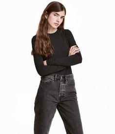 Long-sleeved Jersey Top | Black | Women | H&M US