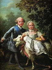 Where in Versailles is it? What: Charles X of France and his sister Clotilde, done in 1763 by François-Hubert Drouais Where: Located in the Chambre Vert of the Petit appartement de la reine. Louis Xvi, Charles Emmanuel, Charles X, Versailles, Marie Antoinette Children, French Royalty, French History, Ludwig, Royals
