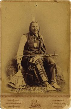 WHITE GHOST; An old photograph of White Ghost, Head Chief of The Lower Yanktonai Sioux