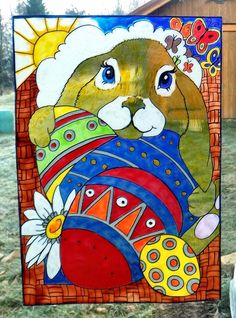 WICOART WINDOW COLOR STICKER CLING FAUX STAINED GLASS PÂQUES LAPINOU EASTER