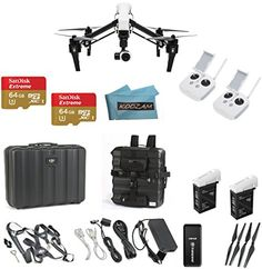 DJI Inspire 1 Quadcopter with 4k Video Camera with Controller with DJI Case + Backpack Adapter with Extra Pockets(Dual Remote Bundle, 2-64GB Micro SD and 3.0 Reader + Case + 2 Extra 4500mAh Batteries)