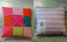Tyyny, virkattua ja ommeltua / A pillow, granny squares on the other side.