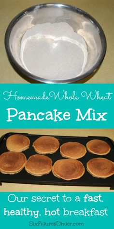 """My husband isn't a fan of the """"just add water"""" boxed mixes, so we make our own whole wheat pancake mix. It cuts down on breakfast prep time to have a mix, but we also get the benefits of homemade and healthy!"""