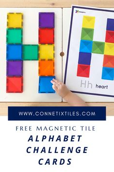 Connetix magnetic tile free alphabet challenge cards are a great teaching resource that can be used for fun and learning at home or in the classroom. These free printables come in three different desgins to challenge all age levels and engcourange learning through play. Click here to download a set now. Play Based Learning, Learning The Alphabet, Learning Through Play, Fun Learning, Alphabet For Toddlers, Lesson Plans For Toddlers, Toddler Alphabet, Alphabet Activities, Preschool Activities