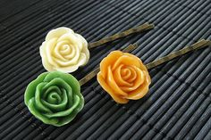Harvest Inspired Rose Flower Bobby Pins in by StumblingOnSainthood, $14.00