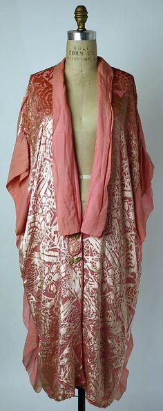 Fawn Velveteen - 1920's bathrobe from B. Altman Dept store, The Met.