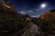 Moon Over Zion - The moon rising over the Watchman at Zion National Park
