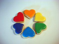 Rainbow Hearts Cookies 36 Three Dozen Small Heart by WackyCookies, $23.00