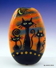 """THE THREE AMIGOS"" ByKAYO a Handmade BLACK CAT Lampwork Art Glass Focal Bead SRA"