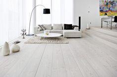 Wooden floor in white Maybe light floor in dining room?