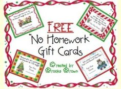 "FREE ""No Homework"" holiday gift cards for students! 
