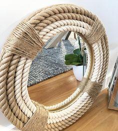 Handmade Round Rope Twisted Mirror Hampton Nautical Design Home Decor Mirror Panel Wall, Rope Mirror, Small Wall Mirrors, Diy Mirror, Home Decor Furniture, Diy Home Decor, Deco Boheme Chic, Spanish Home Decor, Mirror Crafts