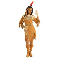 Womens Native American Maiden Costume ($23) ❤ liked on Polyvore featuring costumes, halloween costumes, lady halloween costumes, american indian halloween costumes, lady costumes, ladies halloween costumes and ladies costumes