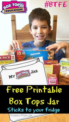Print this Box Tops™ Collection Jar that I made for you! http://freebies4mom.com/boxtopsjar ‪#‎ad‬ Slide into a sheet protector then stick on your fridge ‪#‎BTFE‬