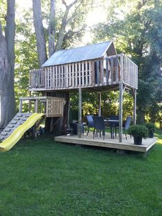 pallet tree house -would love if I ever have a backyard.and maybe kids pallet tree house -would Pallet Tree Houses, Pallet House, Backyard Playground, Backyard For Kids, Backyard Treehouse, Cubby Houses, Play Houses, Outdoor Spaces, Outdoor Living