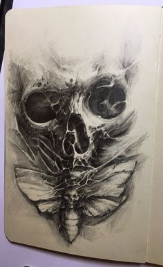 Tattoo черепа эскиз - tattoo's photo In the style Skul Creepy Tattoos, Skull Tattoos, Body Art Tattoos, Moth Tattoo Design, Tattoo Design Drawings, Dark Art Tattoo, Tattoo On, Bio Organic Tattoo, Skull Reference