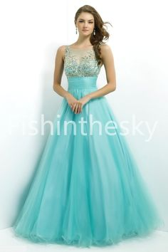 2014 Long Bateau Sleevelessss Tulle Ball Gowns/ Prom Dresses