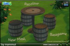 Blackys Sims 4 Zoo: Barrel dinette by mammut • Sims 4 Downloads