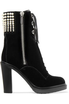 SERGIO ROSSI Embellished velvet boots. #sergiorossi #shoes #boots